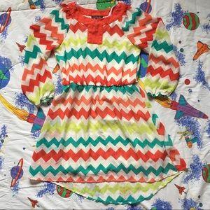 Sheer Chevron Long Sleeve Mini Dress